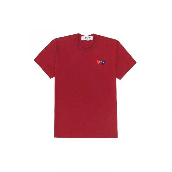 Comme Des Garçons Play Double Heart Tee Red - Swan Fashion Store