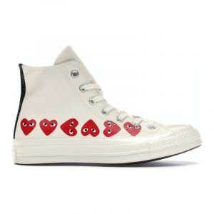 Converse Chuck Taylor All-Star 70s Hi Comme des Garcons Play Multi-Heart White - Swan Fashion Store