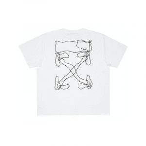 Off-White Oversized Abstract Arrows Embroidered Tee White - Swan Fashion Store