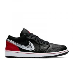 Jordan 1 Low Brushstroke Swoosh Black